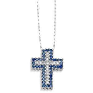 Collana Croce Zaffiri Blu Cierre D117Z