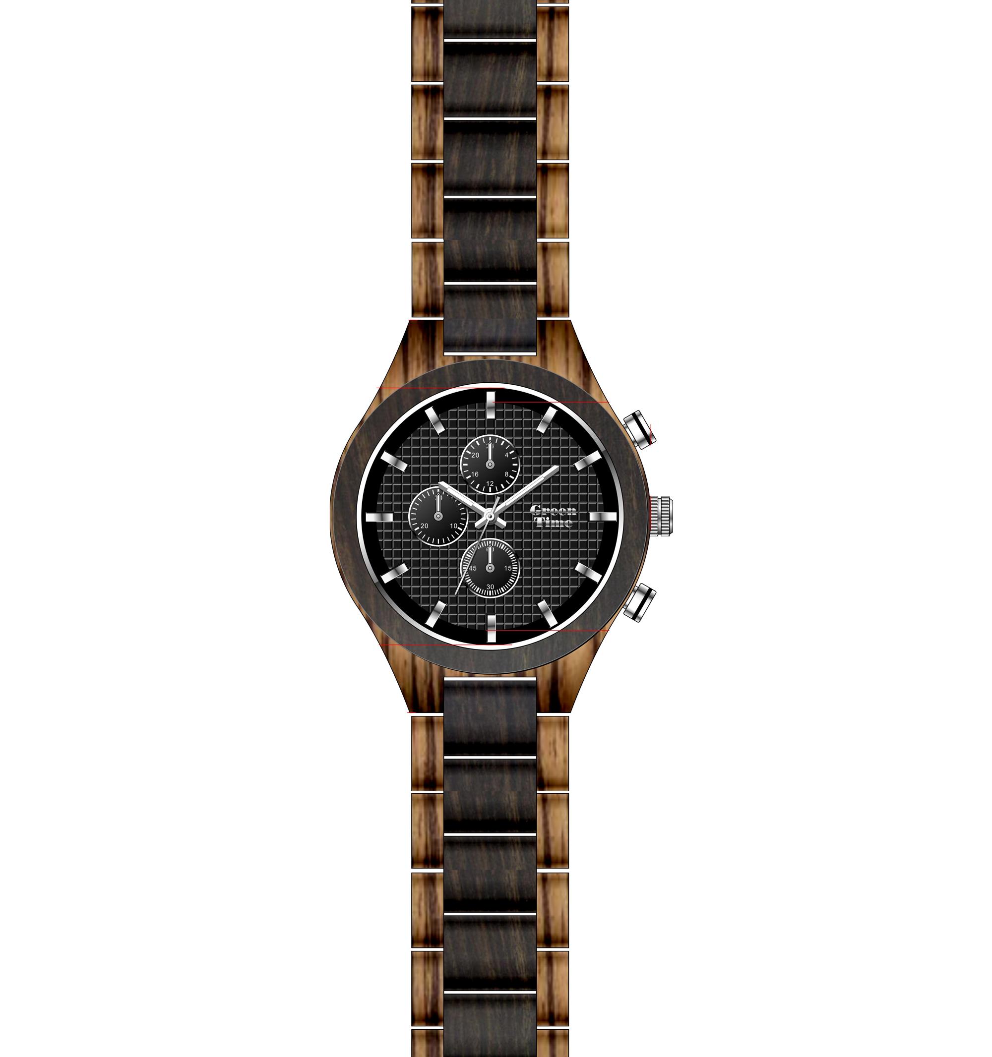 Orologio Cronografo Uomo in Legno Green Time ZW101A