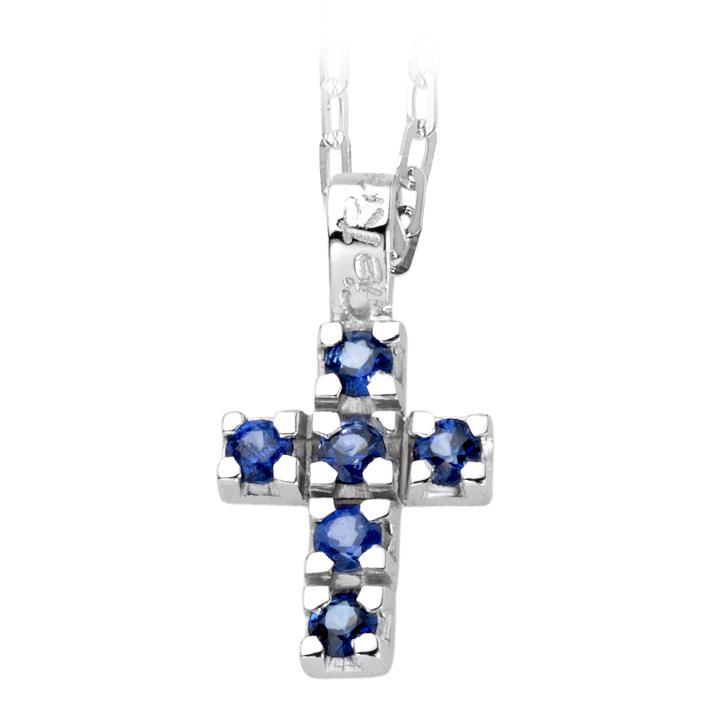 Collana Croce Zaffiri Blu Cierre F291Z